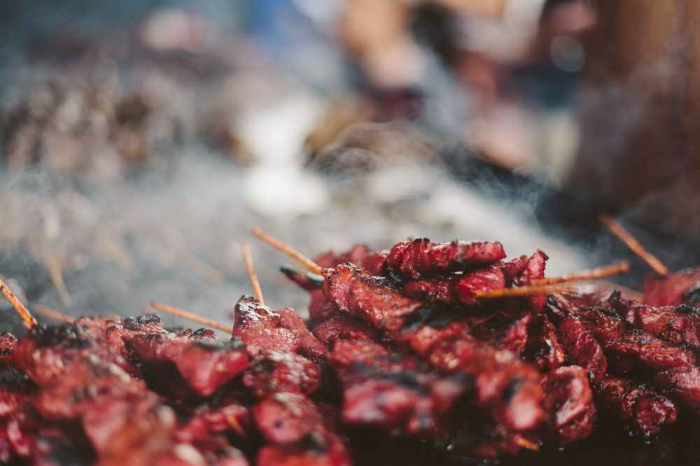 closeup photo of barbecues